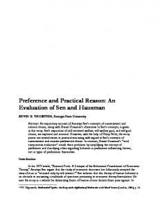 Preference and Practical Reason: An Evaluation of Sen and Hausman