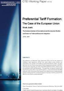Preferential Tariff Formation: The Case of the European Union 1,2