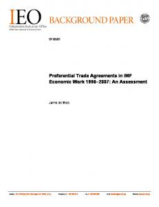 Preferential Trade Agreements in IMF Economic Work : An Assessment