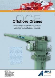 Preferred partner in offshore and marine cranes OCE. Offshore Cranes