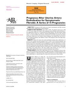 Pregnancy After Uterine Artery Embolization for Symptomatic Fibroids: A Series of 15 Pregnancies