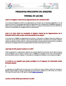 PREGUNTAS FRECUENTES DEL REGISTRO FEDERAL DE LAS OSC
