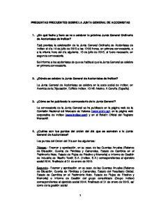 PREGUNTAS FRECUENTES SOBRE LA JUNTA GENERAL DE ACCIONISTAS