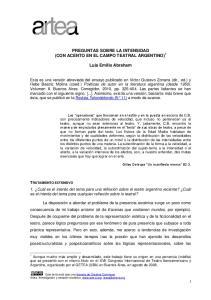 PREGUNTAS SOBRE LA INTENSIDAD (CON ACENTO EN EL CAMPO TEATRAL ARGENTINO) 1. Luis Emilio Abraham
