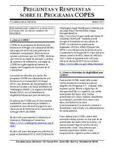 PREGUNTAS Y RESPUESTAS SOBRE EL PROGRAMA COPES
