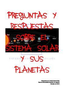 PREGUNTAS Y RESPUESTAS SOBRE El SISTEMA SOLAR Y SUS PLANETAS