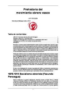 Prehistoria del movimiento obrero vasco