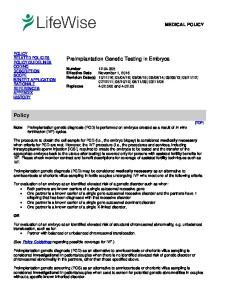 Preimplantation Genetic Testing in Embryos