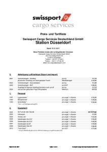 Preis- und Tarifliste Swissport Cargo Services Deutschland GmbH. Station Düsseldorf. Stand: