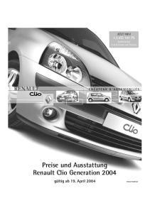 Preise und Ausstattung Renault Clio Generation 2004