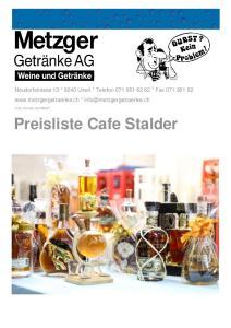 Preisliste Cafe Stalder