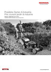 Preisliste Garten & Industrie Prix courant jardin & industrie