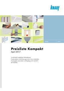 Preisliste Kompakt. April Preisliste