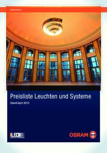 Preisliste Leuchten und Systeme