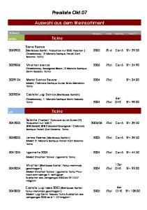 Preisliste Okt.07. Auswahl aus dem Weinsortiment