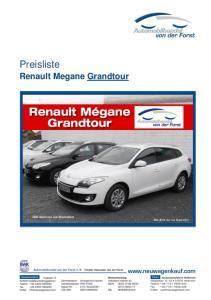 Preisliste. Renault Megane Grandtour. Bild dient nur zur Illustration