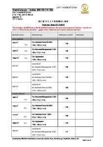 Preisliste: Stand