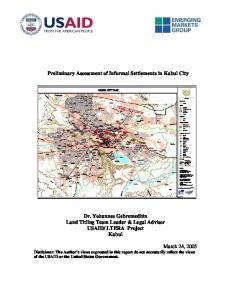 Preliminary Assessment of Informal Settlements in Kabul City