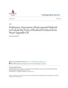Preliminary Assessment of Instrumental Methods to Evaluate the Purity of Biodiesel Produced from Waste Vegetable Oil