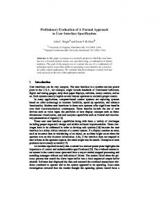 Preliminary Evaluation of A Formal Approach to User Interface Specification