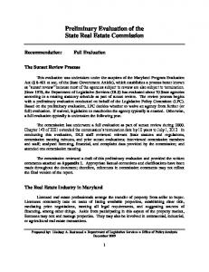 Preliminary Evaluation of the State Real Estate Commission