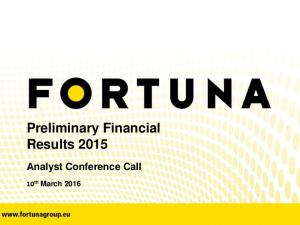 Preliminary Financial Results 2015