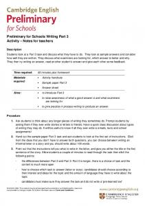 Preliminary for Schools Writing Part 3 Activity Notes for teachers