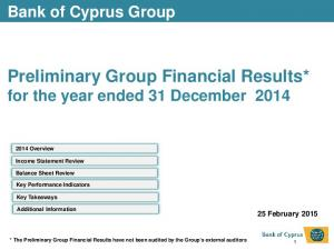 Preliminary Group Financial Results* for the year ended 31 December 2014