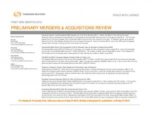 PRELIMINARY MERGERS & ACQUISITIONS REVIEW