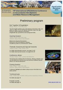 Preliminary program. Get Together & Registration Monday 15 April, , CCIB