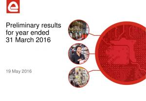 Preliminary results for year ended 31 March May 2016