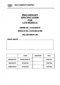 PRELIMINARY SPECIFICATION FOR LCD MODULE