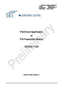 Preliminary Specification of PIN Preamplifier Module SRD3201-LG3