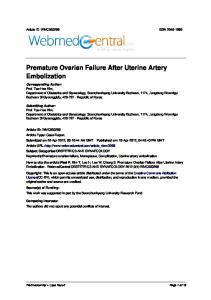 Premature Ovarian Failure After Uterine Artery Embolization