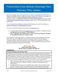 Premera Blue Cross Medicare Advantage Plans Pharmacy Policy Updates