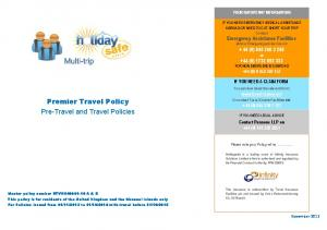Premier Travel Policy Pre-Travel and Travel Policies