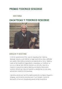 PREMIO FEDERICO SESCOSSE ZACATECAS Y FEDERICO SESCOSSE
