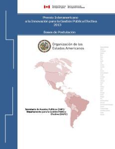 Premio Interamericano a la Innovación para la Gestión Pública Efectiva 2013 Bases de Postulación