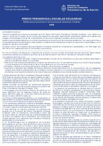 PREMIO PRESIDENCIAL ESCUELAS SOLIDARIAS