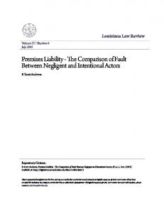 Premises Liability - The Comparison of Fault Between Negligent and Intentional Actors