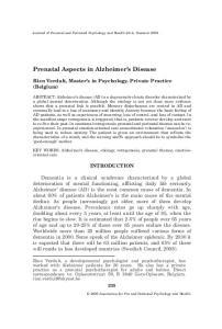 Prenatal Aspects in Alzheimer s Disease