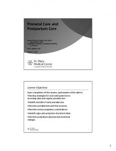 Prenatal Care and Postpartum Care