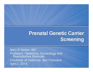 Prenatal Genetic Carrier Screening