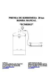 PRENSA DE SOBREMESA 20 ton BOMBA MANUAL ECM02013
