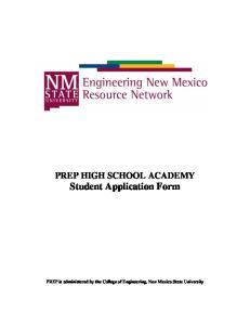 PREP HIGH SCHOOL ACADEMY Student Application Form