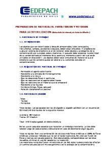 PREPARACION DE MATERIALES. ENVOLTORIOS Y METODOS