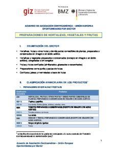 PREPARACIONES DE HORTALIZAS, VEGETALES Y FRUTAS