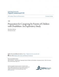 Preparation for Caregiving by Parents of Children with Disabilities: An Exploratory Study