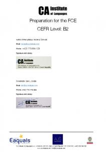 Preparation for the FCE CEFR Level: B2