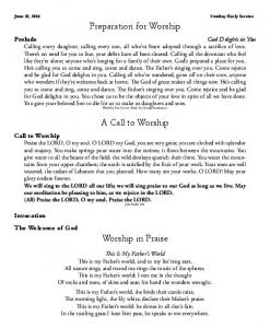 Preparation for Worship. A Call to Worship
